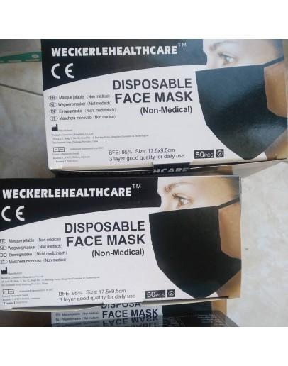 Χειρουργική μάσκα ΜΑΥΡΗ (50τμχ)
